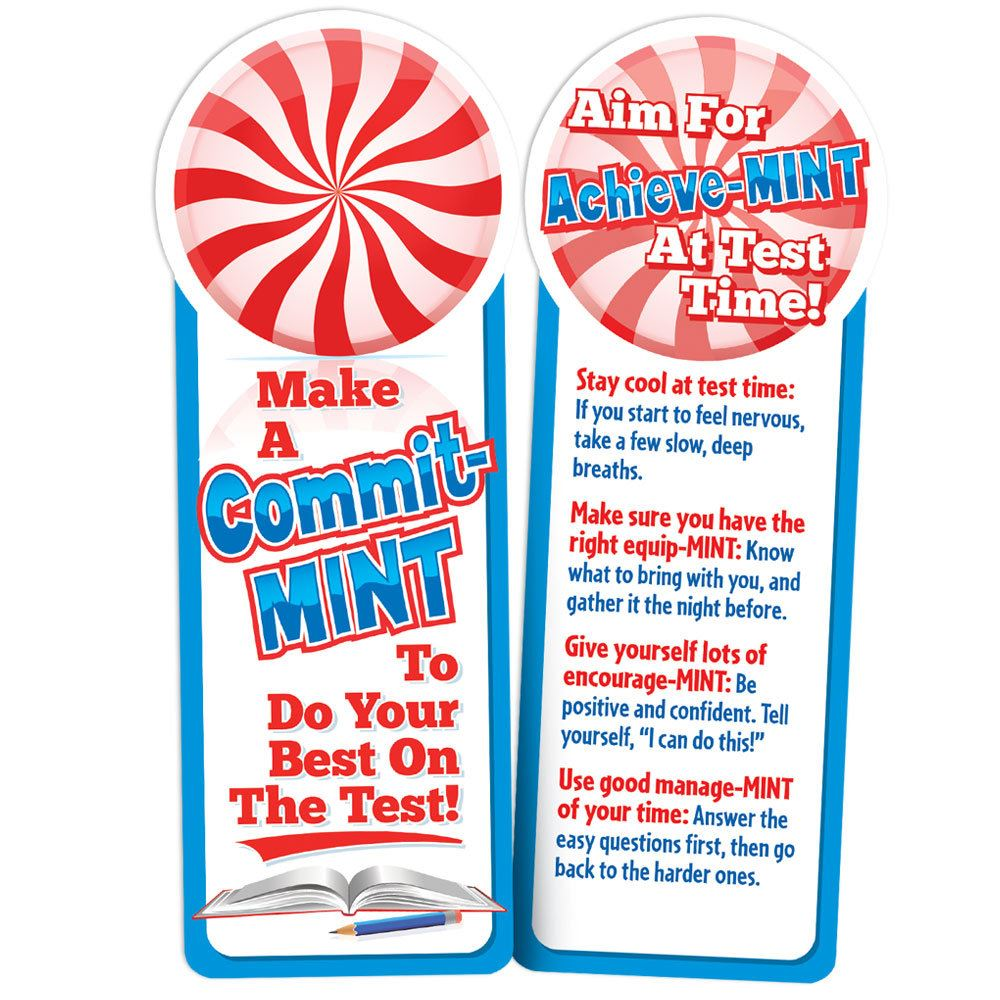 Make A Commit-MINT Do Your Best On The Test! Peppermint-Scented Bookmarks - Pack of 25