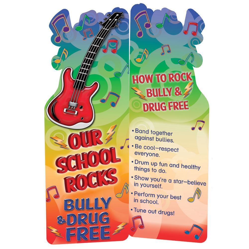 Our School Rocks Bully & Drug Free Guitar-Shaped Bookmarks - Pack of 100