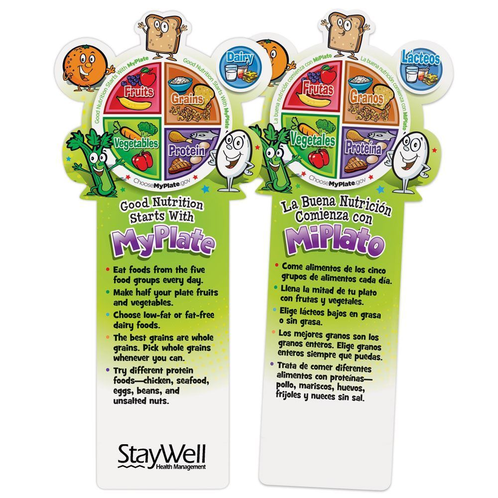 Good Nutrition Starts With MyPlate Die-Cut English/Spanish Bookmark - Personalization Available