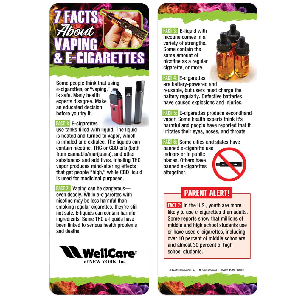 7 Facts About Vaping & E-Cigarettes Bookmark - Personalization Available