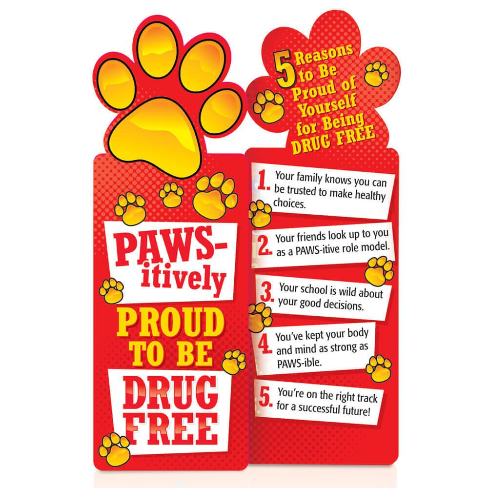 Paws-itively Proud To Be Drug Free Red Ribbon Die-Cut Bookmark - Pack of 100