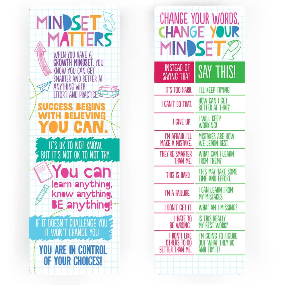 Growth Mindset Bookmarks - Pack of 25
