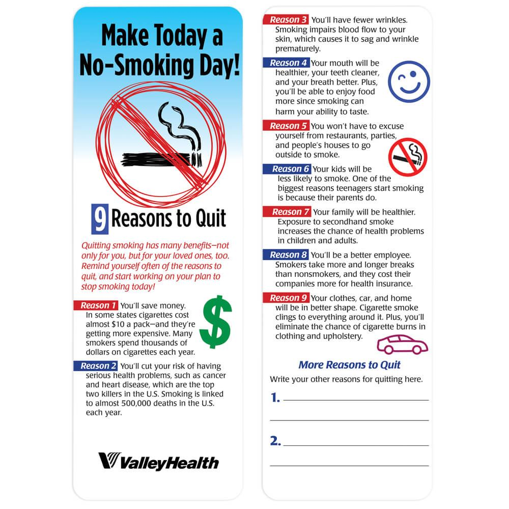 Make Today A No-Smoking Day! 9 Reasons To Quit Bookmark - Personalization Available
