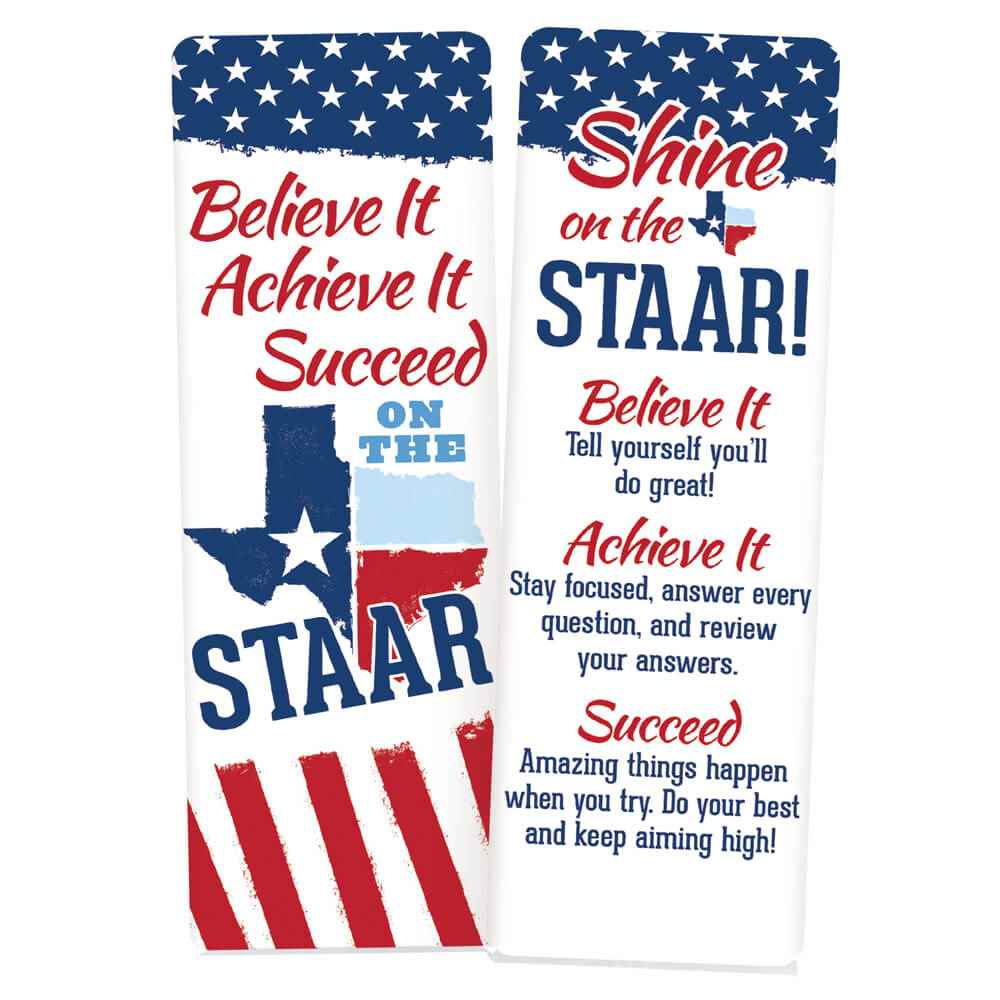 Believe It, Achieve It, Succeed On The STAAR Bookmarks - Pack of 25