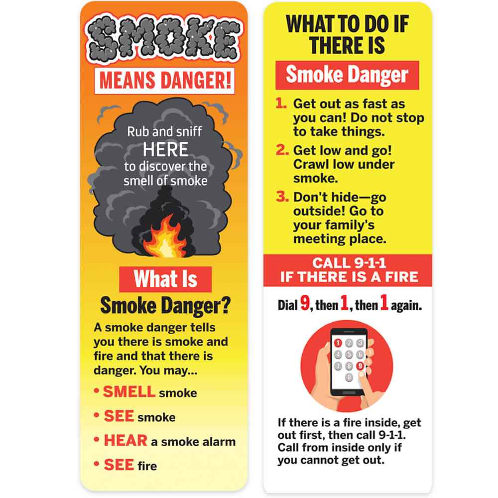 Smoke Means Danger Rub & Sniff Smoke Scented Bookmark - 100 Per Pack