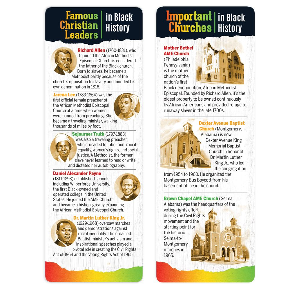 Black History: Famous Black Ministries and Churches Bible Marker/Bookmark - Pack of 25