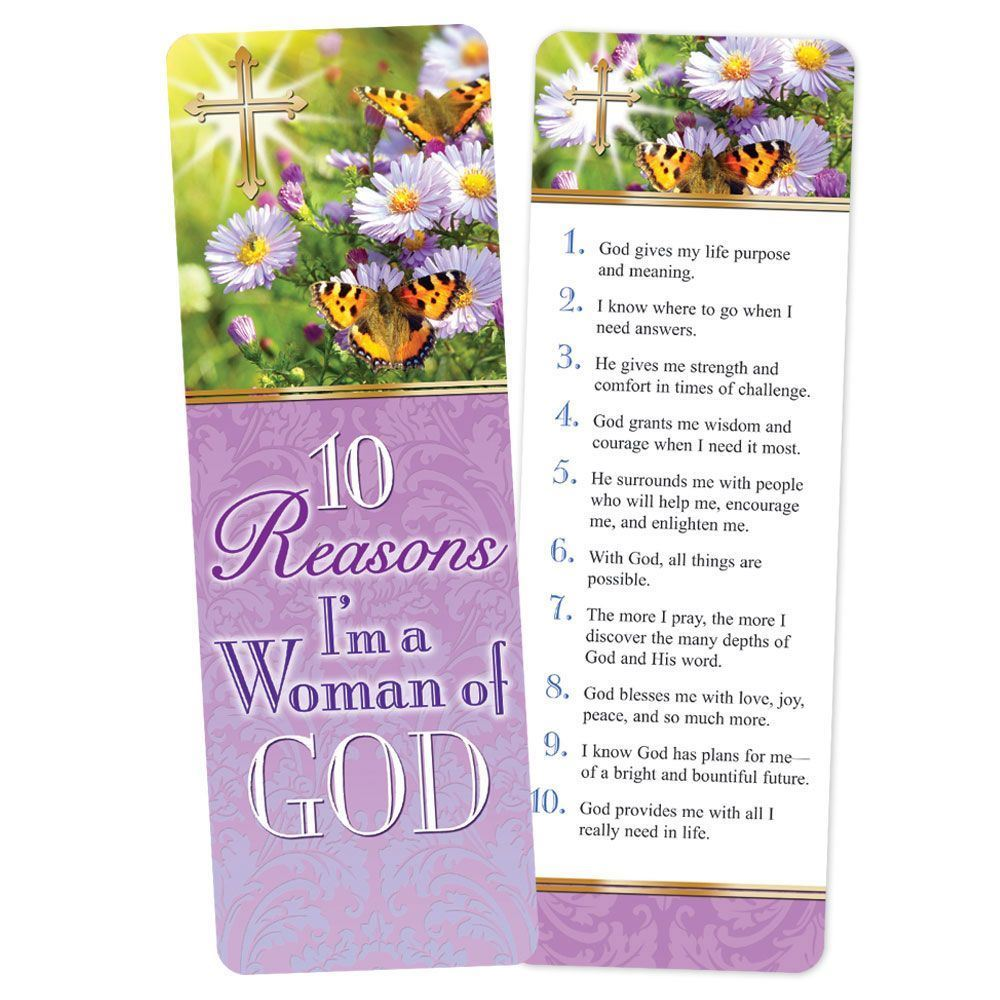 10 Reasons I'm A Woman Of God Deluxe Bookmark - Pack of 15