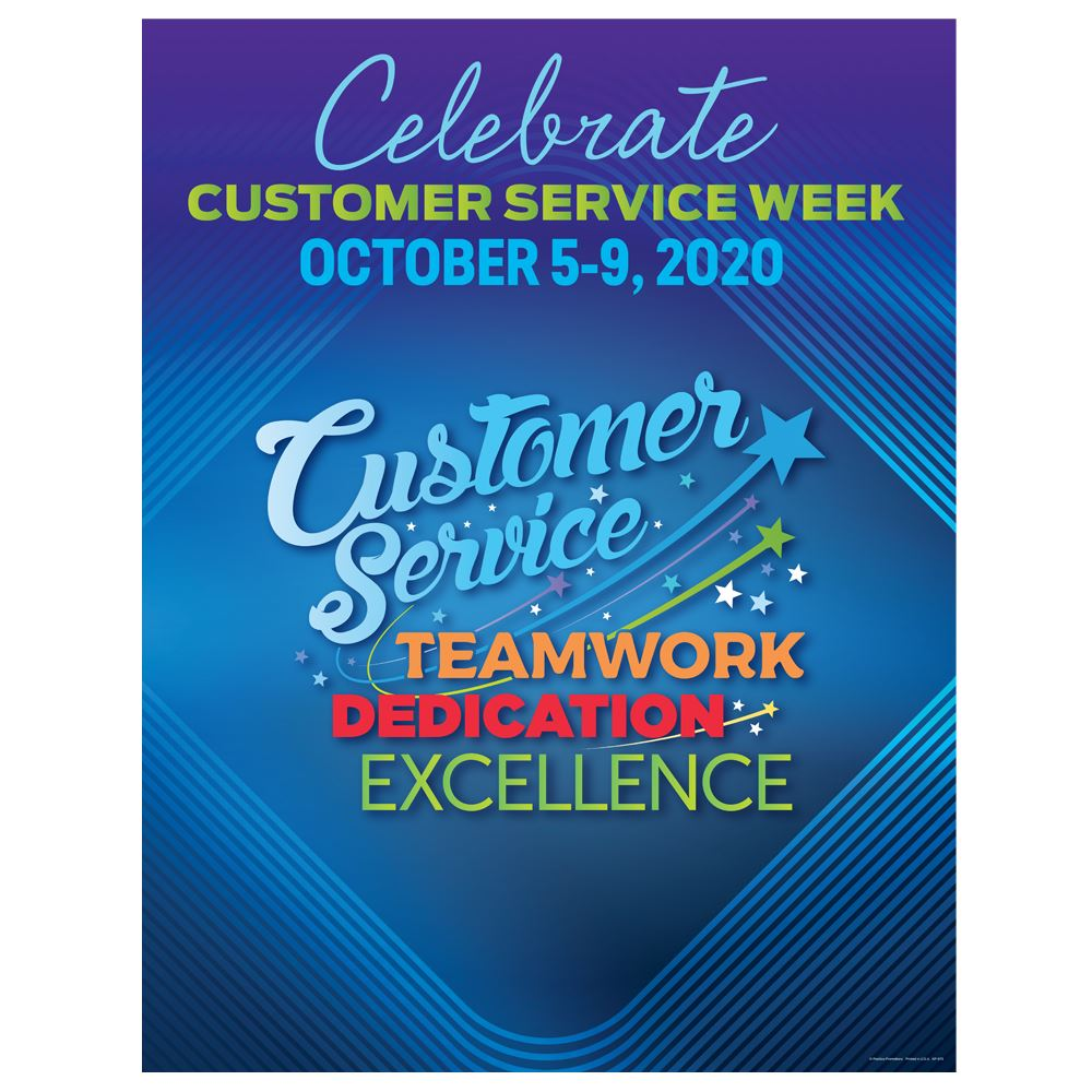 Customer Service: Teamwork, Dedication, Excellence Customer Service Week Event Poster - 5 per pack