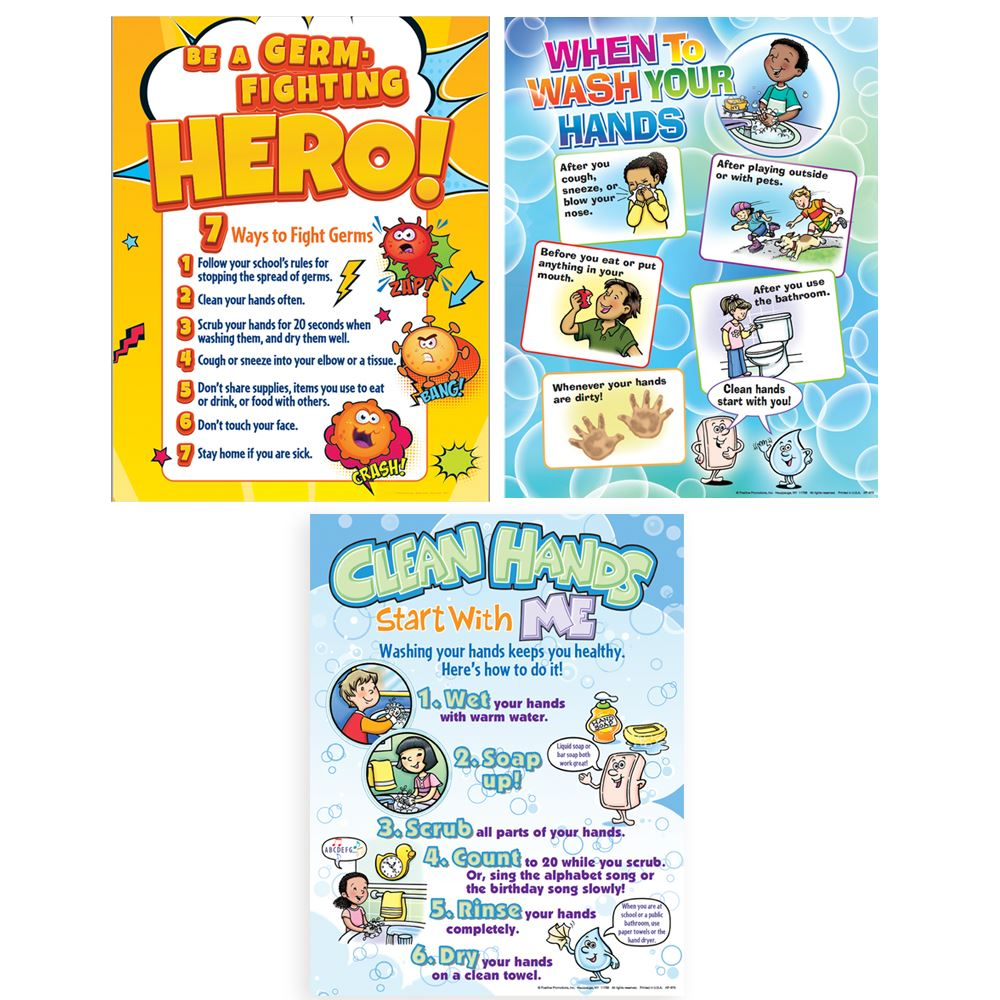 Fighting Germs Assorted Poster Sets - Pack of 3