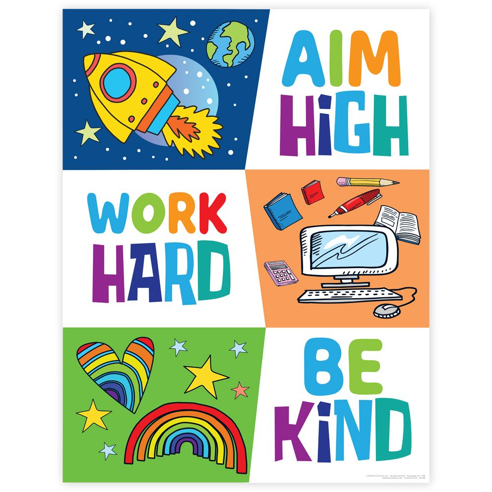 Aim High, Work Hard, Be Kind Event Week Poster - 3 Pack