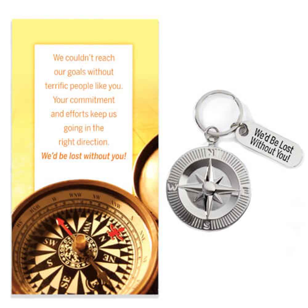 We'd Be Lost Without You! Compass Medallion Key Tag with Keepsake Card