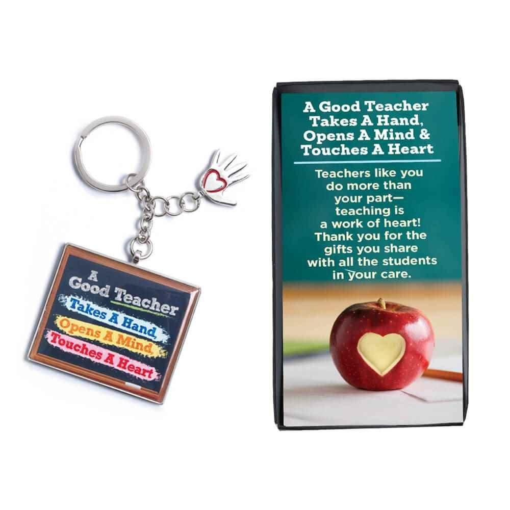 A Good Teacher Takes A Hand, Opens A Mind, Touches A Heart Key Tag with Keepsake Card