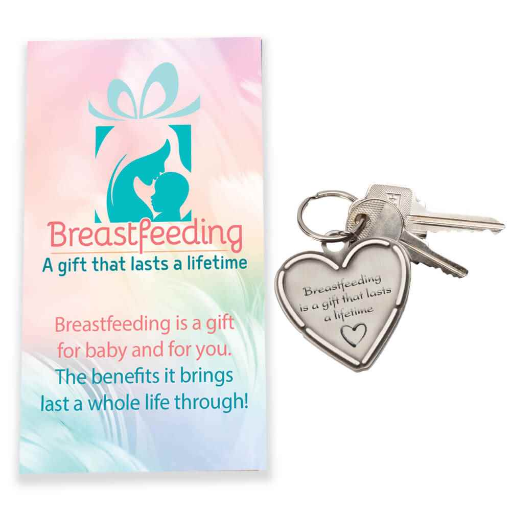 Breastfeeding Is A Gift That Lasts A Lifetime Pewter Heart Key Tag with Keepsake Card