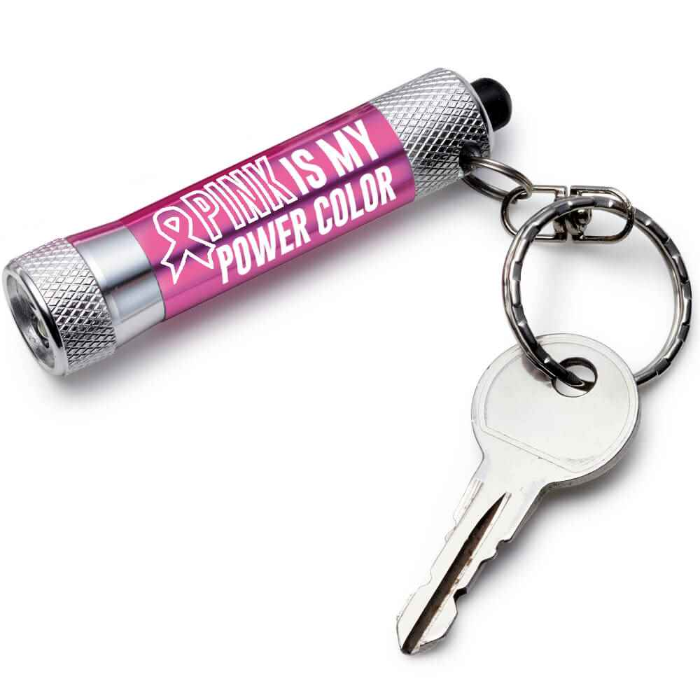Pink Is My Power Color LED Aluminum Flashlight Key Tag