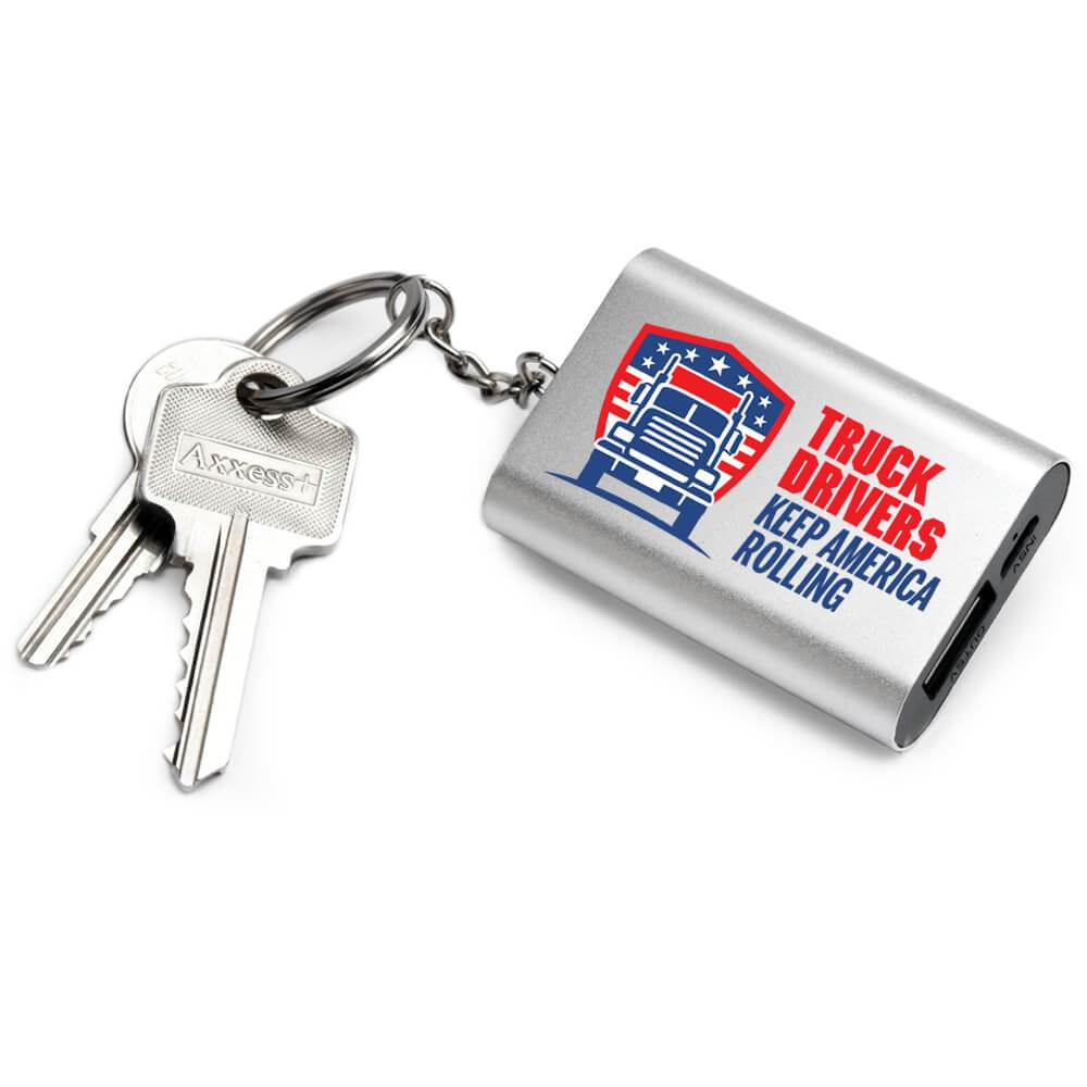 Truck Drivers Keep America Rolling Emergency Power Bank Key Tag