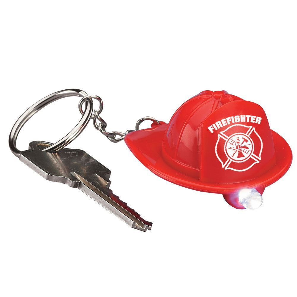 Firefighter Fire Hat Flashlight/Key Ring - Pack of 10