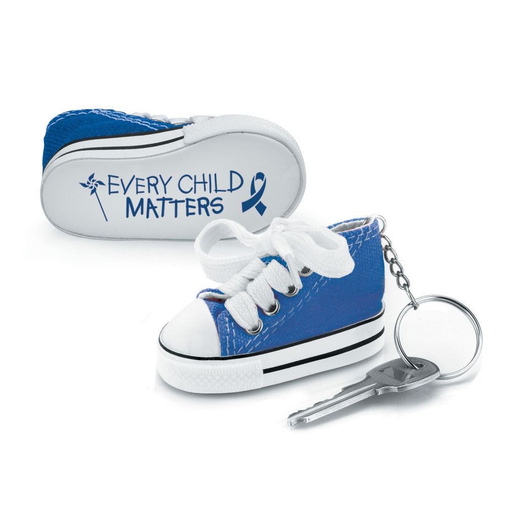 Every Child Matters Blue Mini Canvas Sneaker Key Ring - Pack of 10