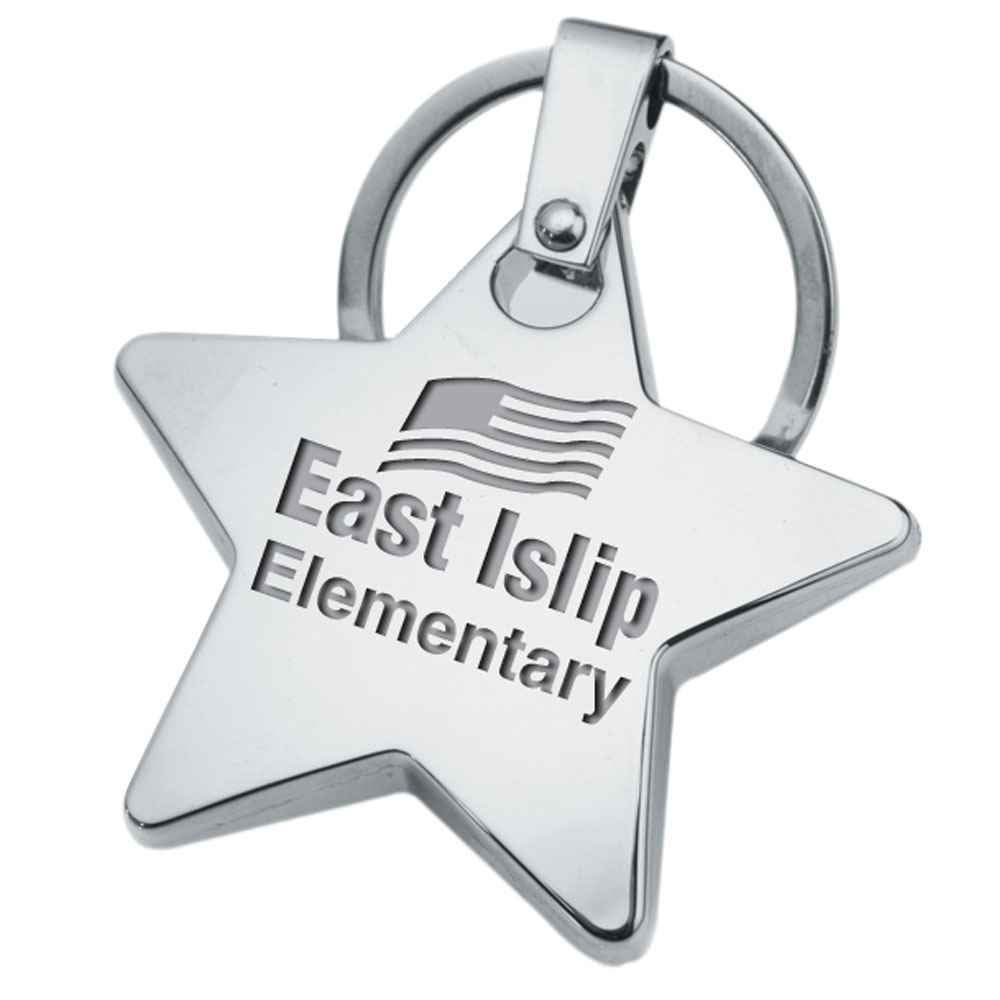 Laser-Engraved Star Key Ring (Key Ring Only) - Personalization Available