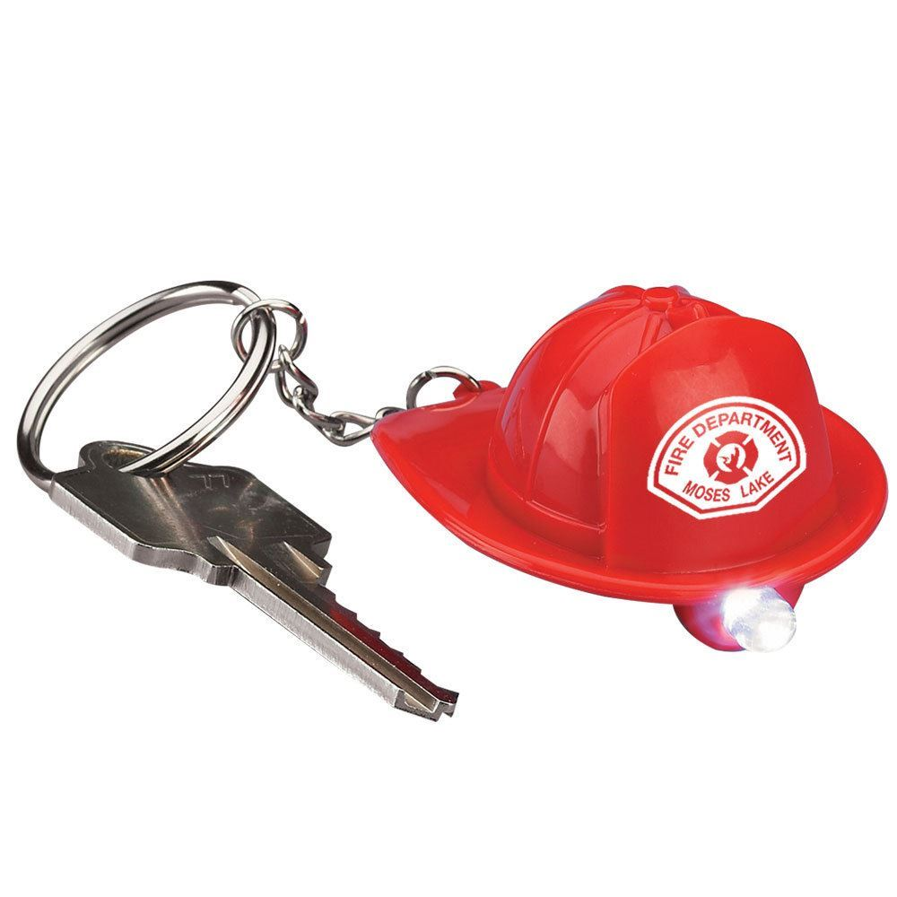 Fire Hat Flashlight/Key Ring - Personalization Available