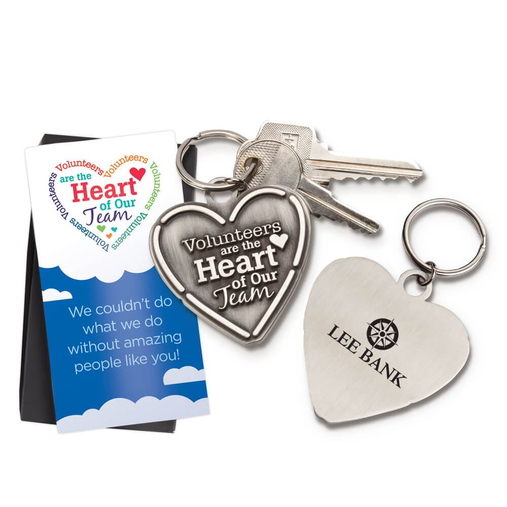 Volunteers Are The Heart Of Our Team Pewter Key Tag with Keepsake Card - Personalization Available