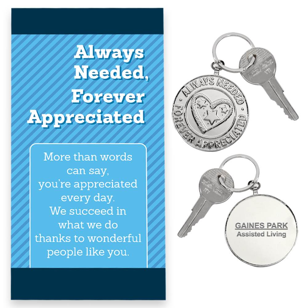Always Needed, Forever Appreciated Key Tag With Keepsake Card - Personalization Available