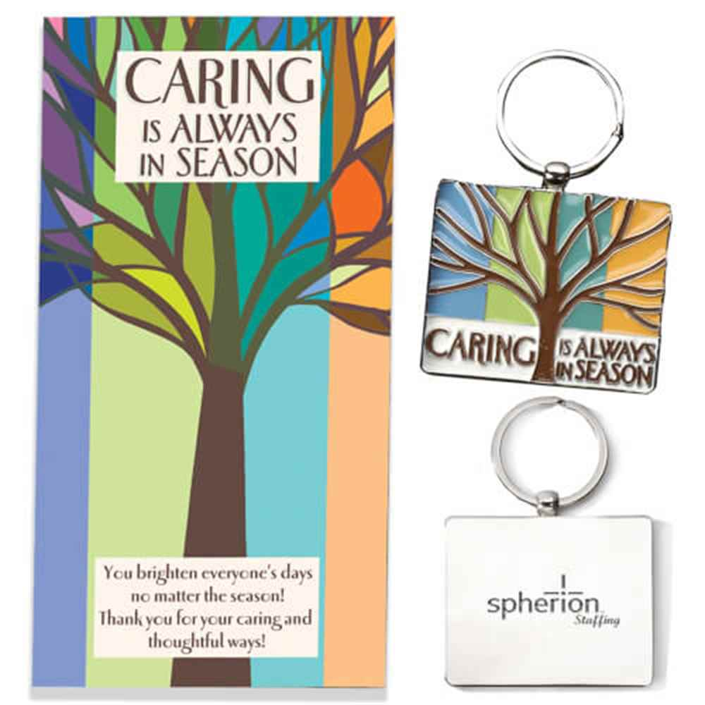 Caring Is Always In Season Enamel Key Tag With Keepsake Card - Personalization Available