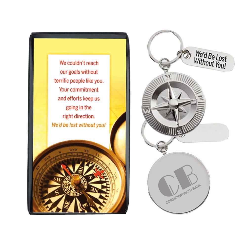 We'd Be Lost Without You! Compass Medallion Key Tag With Keepsake Card - Personalization Available