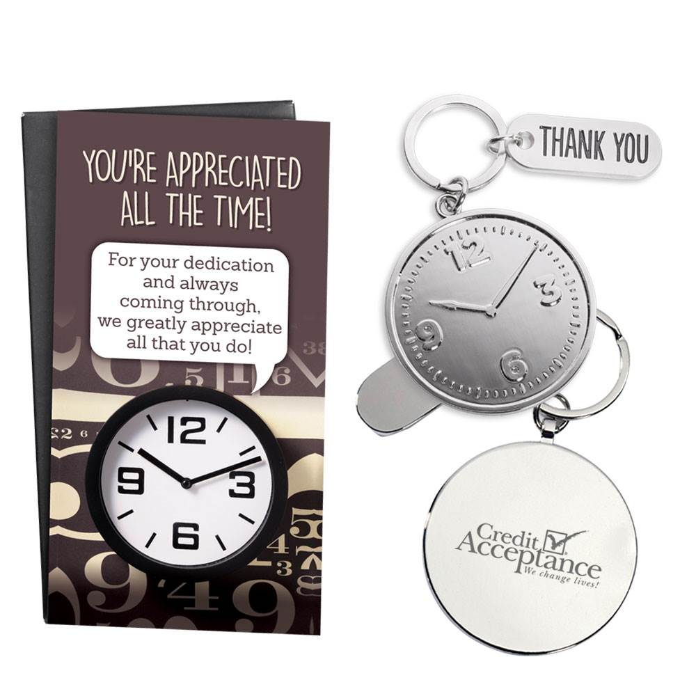 Clock Key Tag and Thank You Charm with Keepsake Card - Personalization Available
