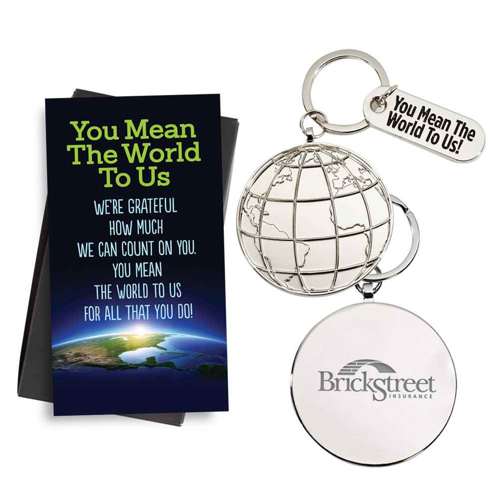 You Mean The World To Us! Globe Key Tag & Thank You Charm with Keepsake Card - Personalization Available