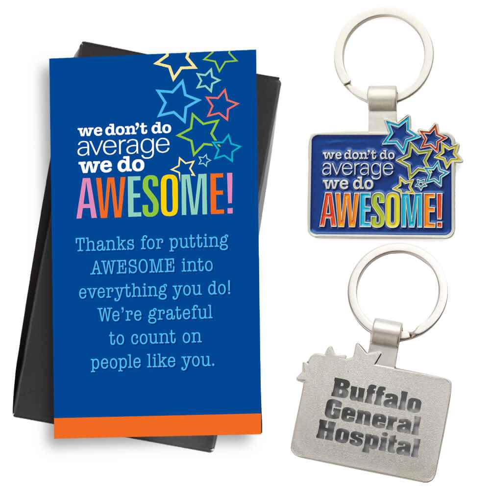 We Don't Do Average We Do Awesome! Key Tag With Keepsake Card - Personalization Available