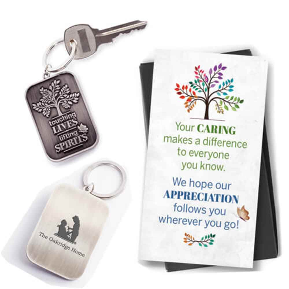 Touching Lives, Lifting Spirits Key Tag with Keepsake Card Plus Personalization