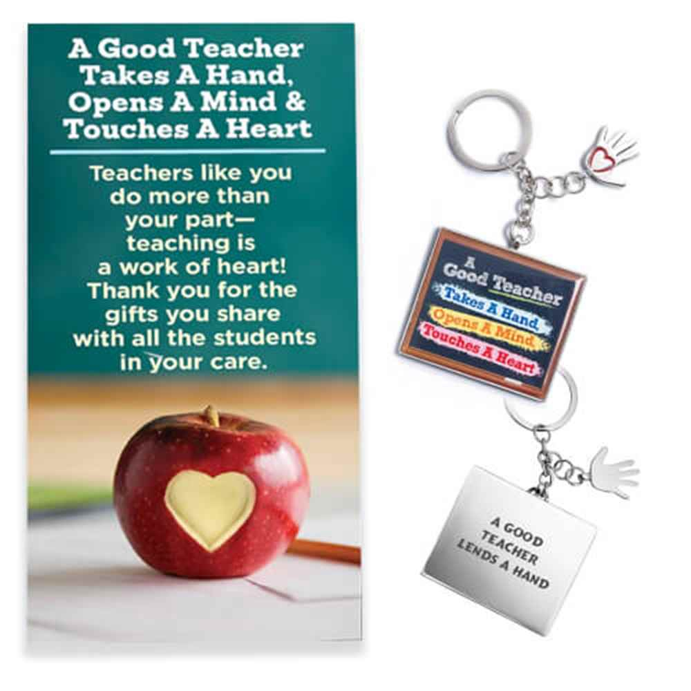 A Good Teacher Takes A Hand, Opens A Mind, Touches A Heart Key Tag with Keepsake Card - Personalization Available