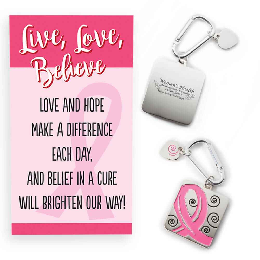 Pink Ribbon Metal Key Tag With Carabiner & Keepsake Card Plus Personalization