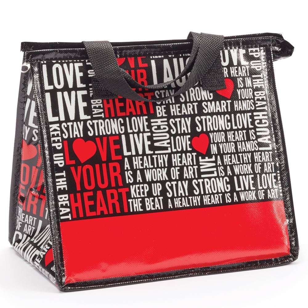 Love Your Heart Word Cloud Laminated Insulated Lunch Bag