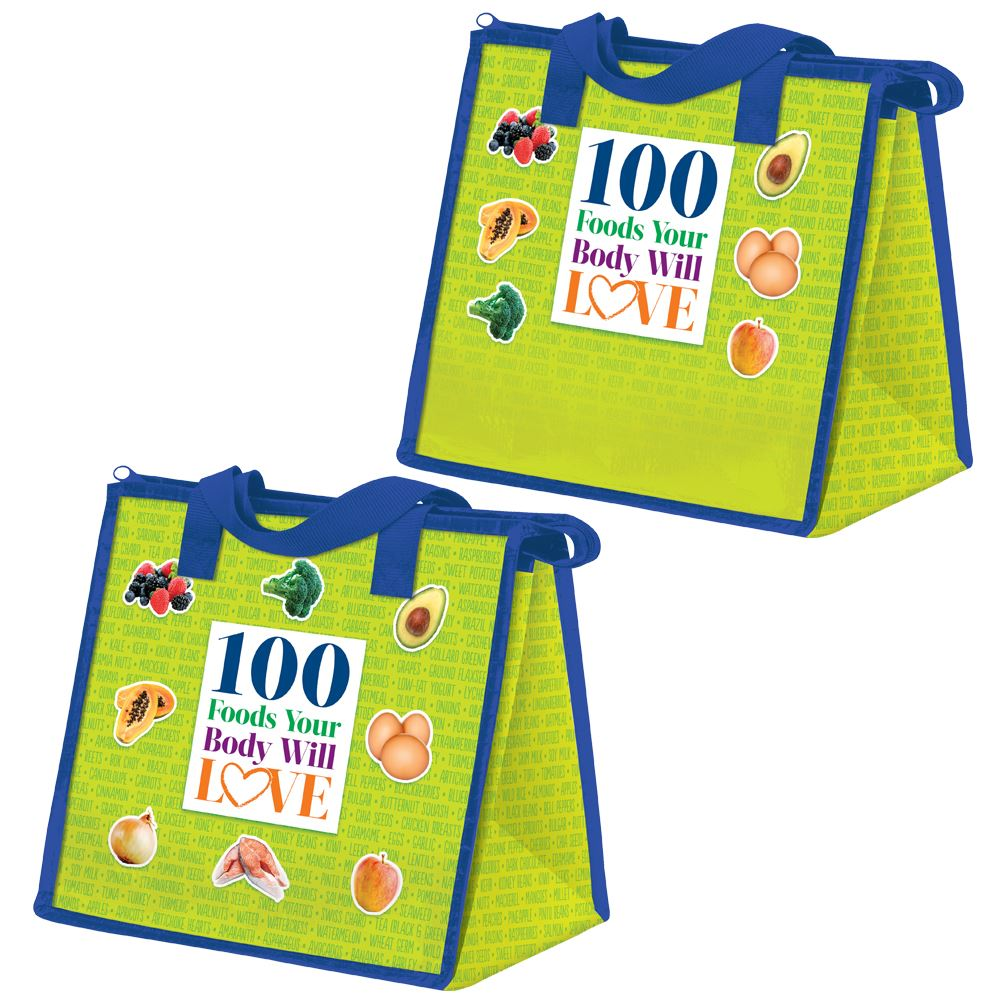 100 Foods Your Body Will Love Eco-Friendly Laminated Insulated Lunch Bag