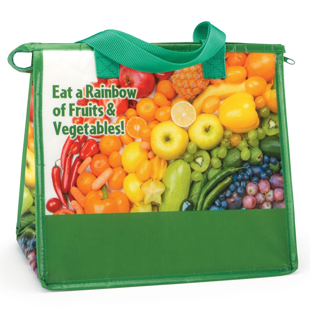 Eat A Rainbow Of Fruits & Vegetables Eco-Friendly Laminated Insulated Lunch Bag