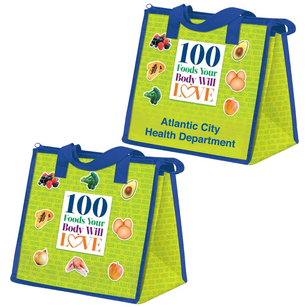 100 Foods Your Body Will Love Eco-Friendly Laminated Insulated Lunch Bag - Personalization Available