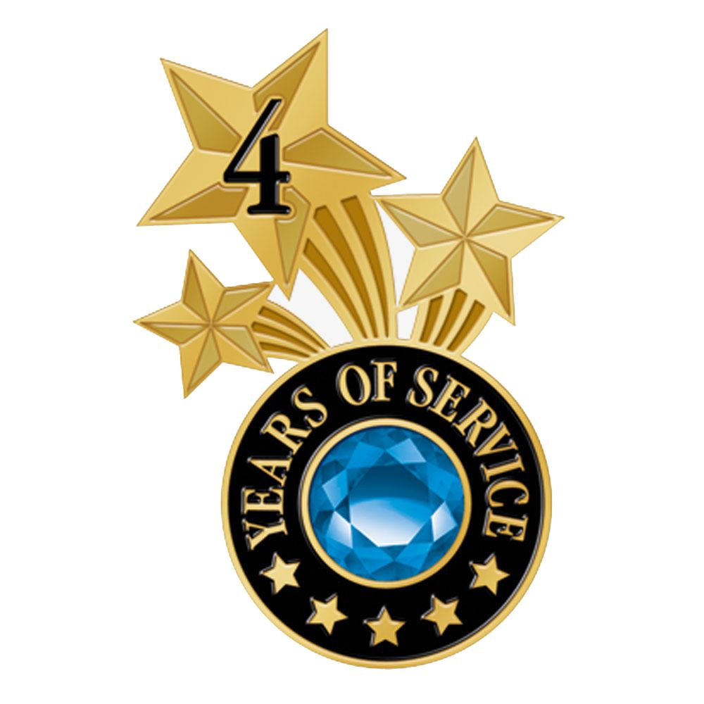 4 Years Of Service Triple Star Lapel Pin With Jewel Box
