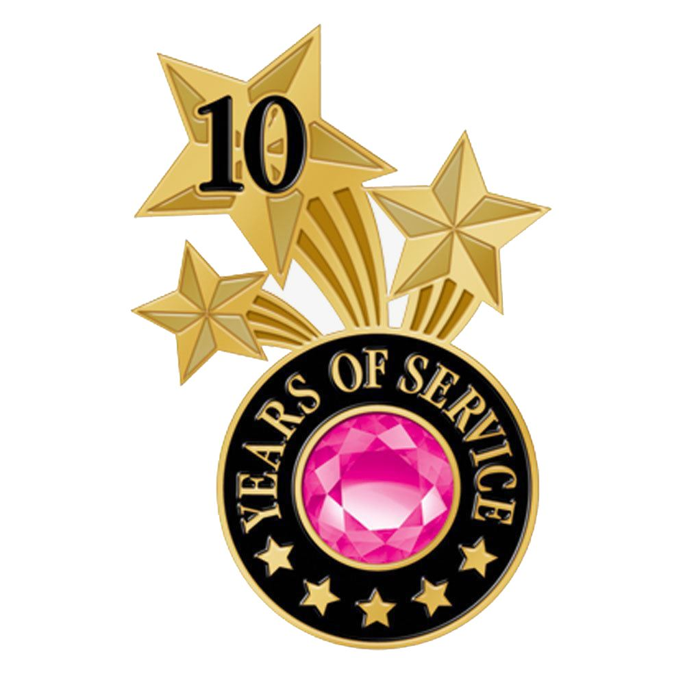 10 Years Of Service Triple Star Lapel Pin With Jewel Box