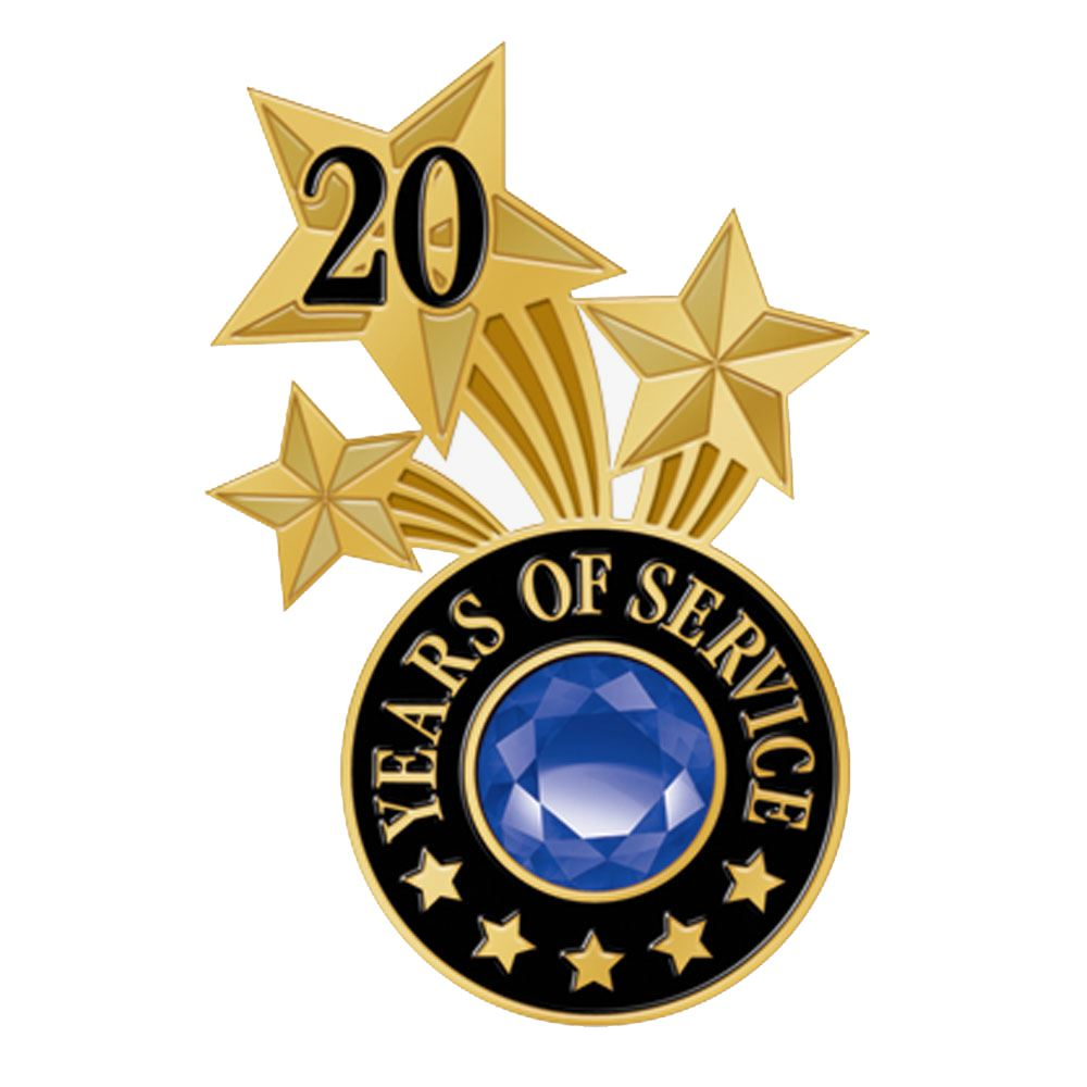 20 Years Of Service Triple Star Lapel Pin With Jewel Box
