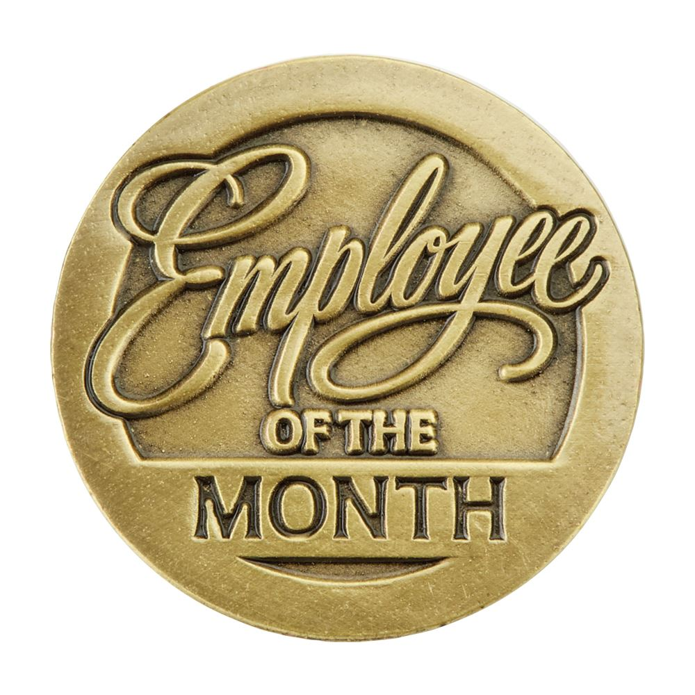 round employee of the month lapel pin with presentation card