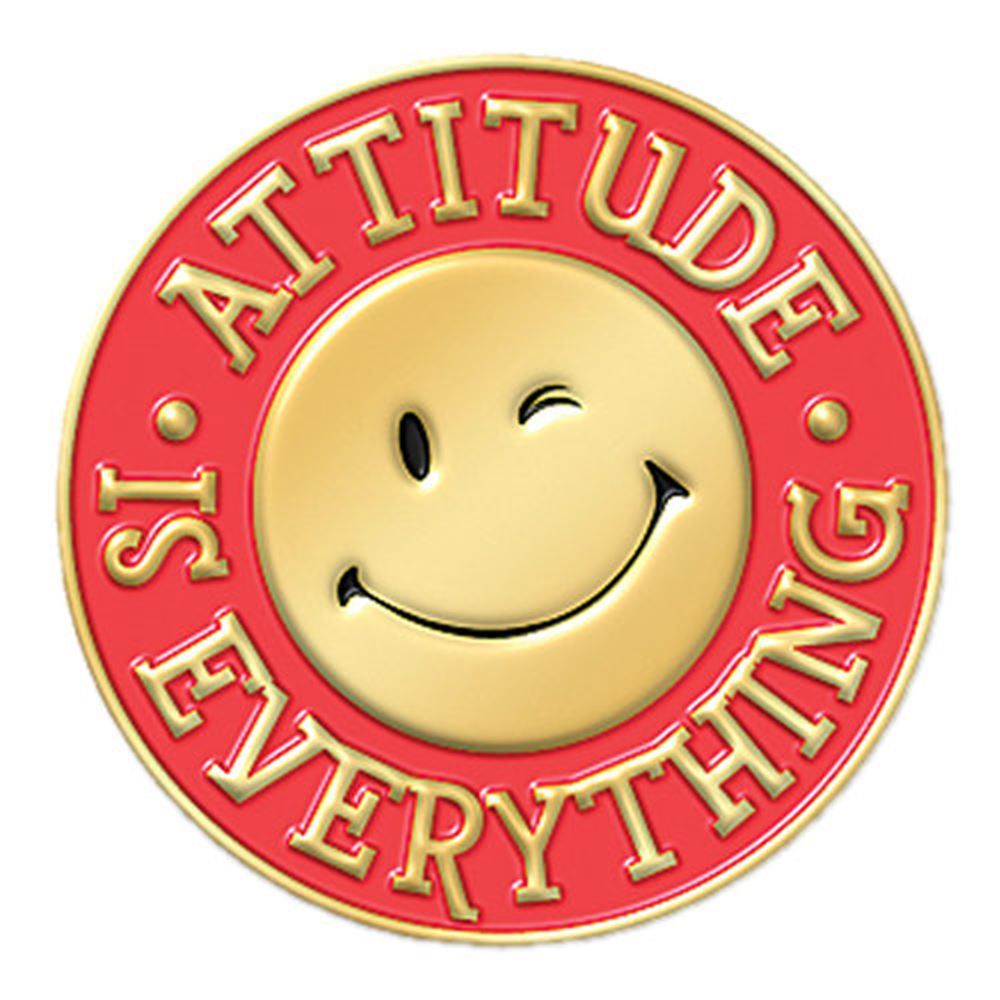 Attitude Is Everything (Smiley Face) Lapel Pin With Presentation Card