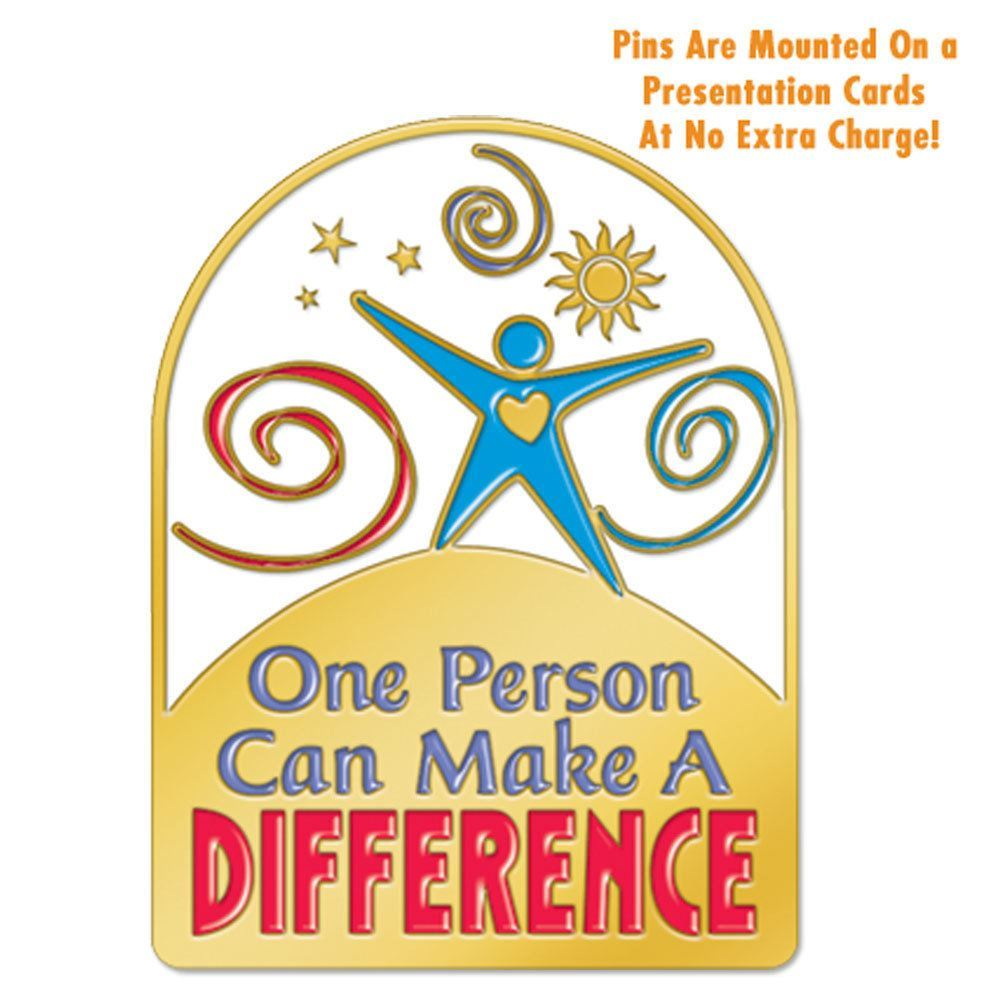 One Person Can Make A Difference Person Lapel Pin With Presentation Card