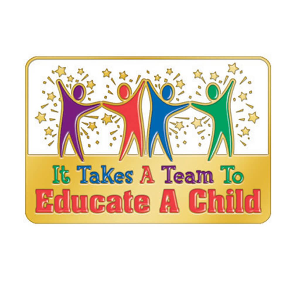 It Takes A Team To Educate A Child Lapel Pin With Presentation Card