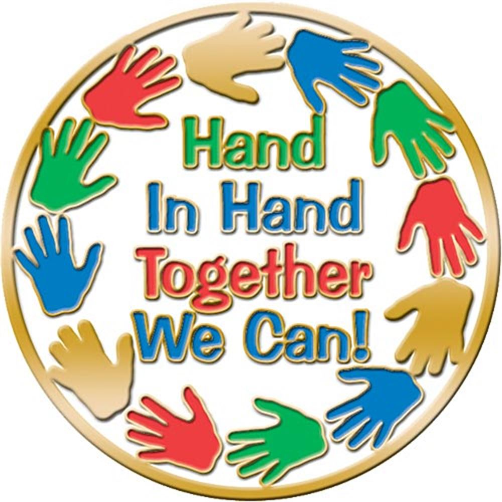 Hand In Hand Together We Can Lapel Pin With Presentation Card