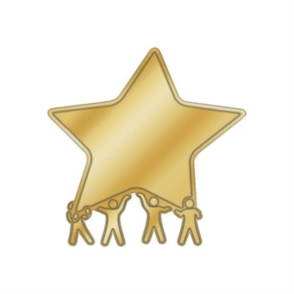 Figures Holding Star Lapel Pin With Presentation Card