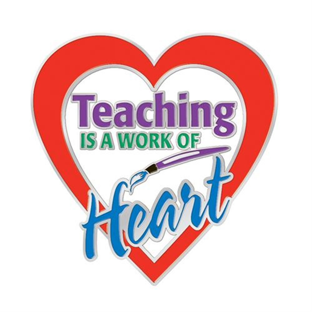 Teaching Is A Work Of Heart Lapel Pin With Card | Positive Promotions