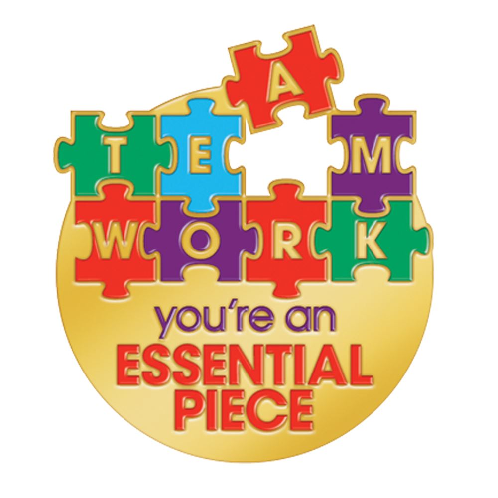 teamwork youre an essential piece lapel pin with card
