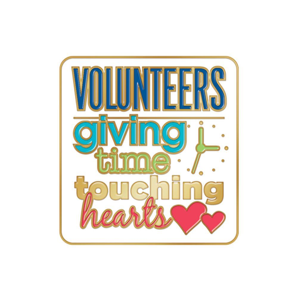 Volunteers: Giving Time, Touching Hearts Lapel Pin With Presentation Card