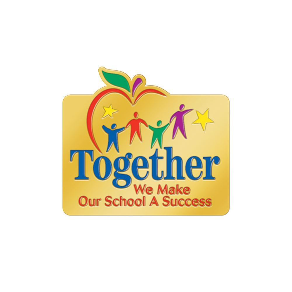 Together We Make Our School A Success Lapel Pin With Presentation Card